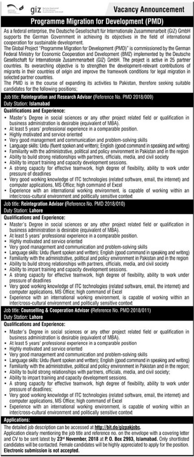 GIZ Pakistan Jobs Latest 2018