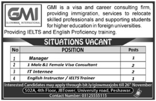 GMI Visa & Career Consulting Firm Peshawar Jobs 2018