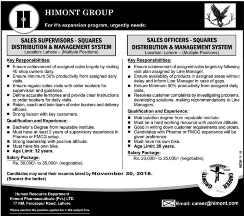 Himont Group Pakistan Jobs Latest 2018