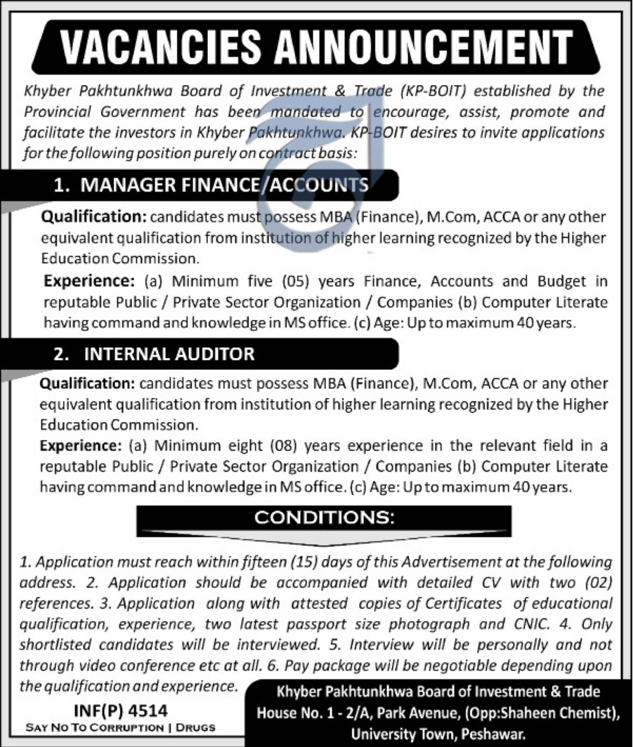 KPK BOIT Jobs 2018 Board of Investment & Trade