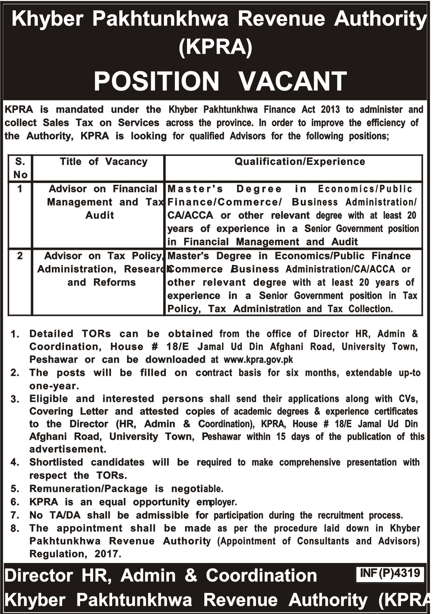 KPK Revenue Authority Jobs Latest 2018