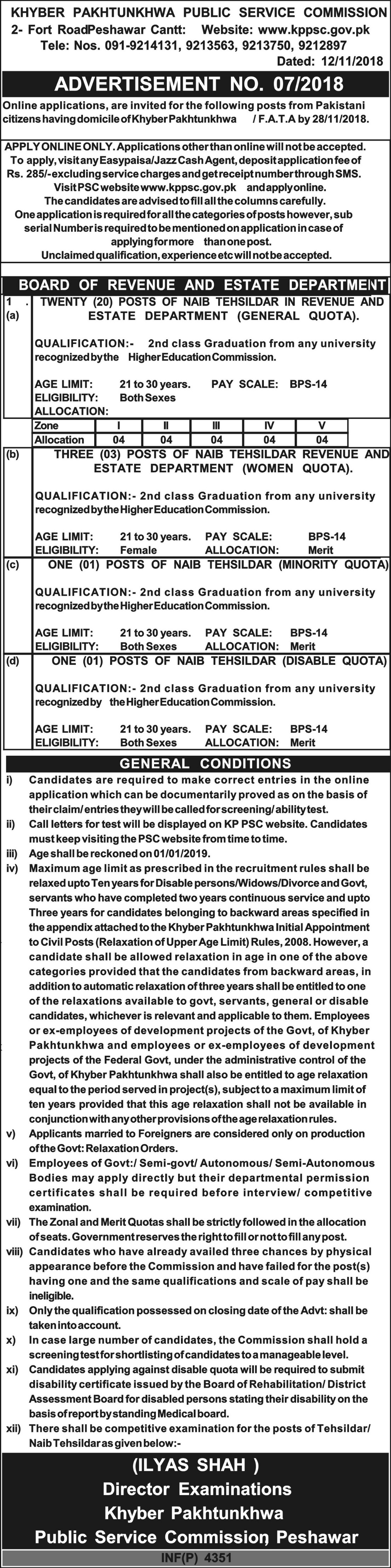 KPPSC Jobs Latest November 2018