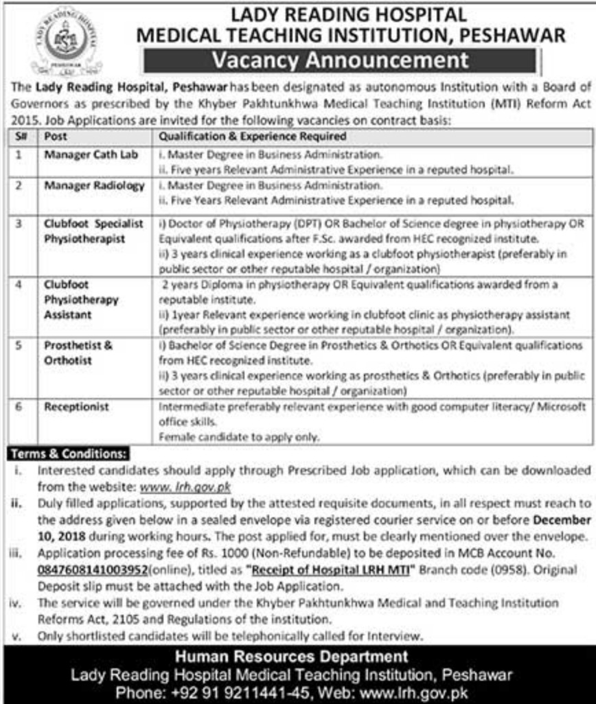 Lady Reading Hospital Peshawar Jobs 2018