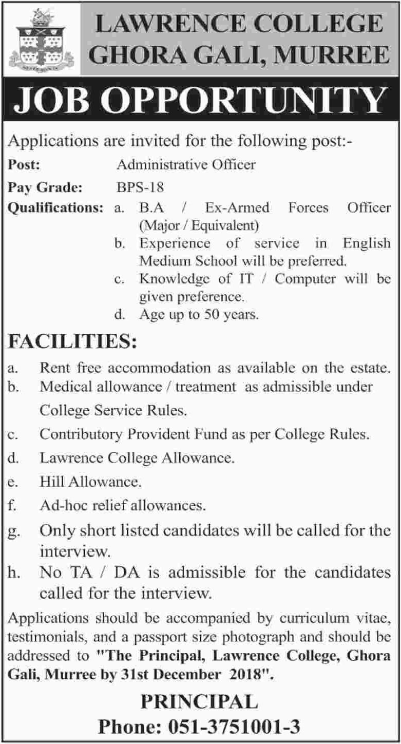 Lawrence College Murree Jobs 2018