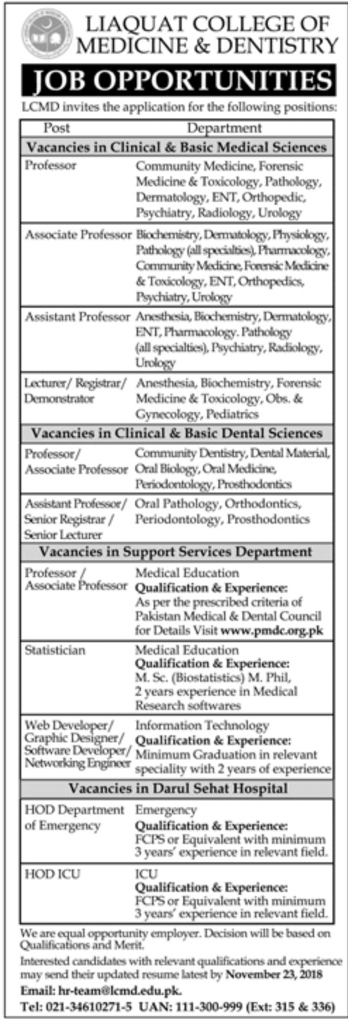 Liaquat College of Medicine & Dentistry Jobs 2018