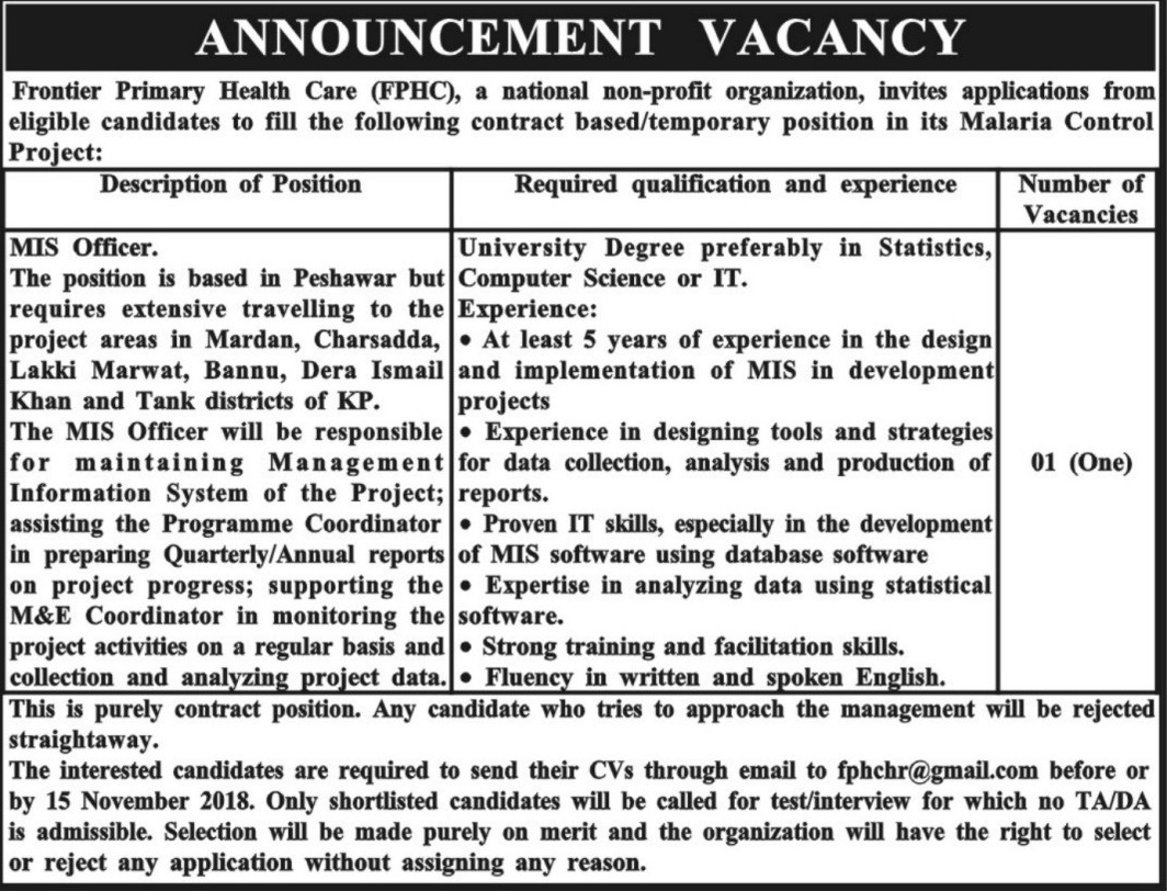 NGO Frontier Primary Health Care FPHC KPK Jobs 2018