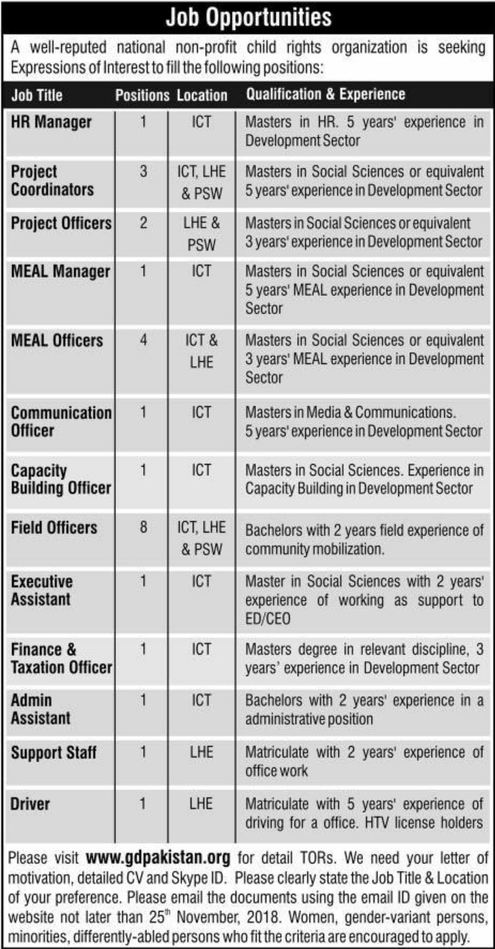 NGO Job Opportunities Latest 2018