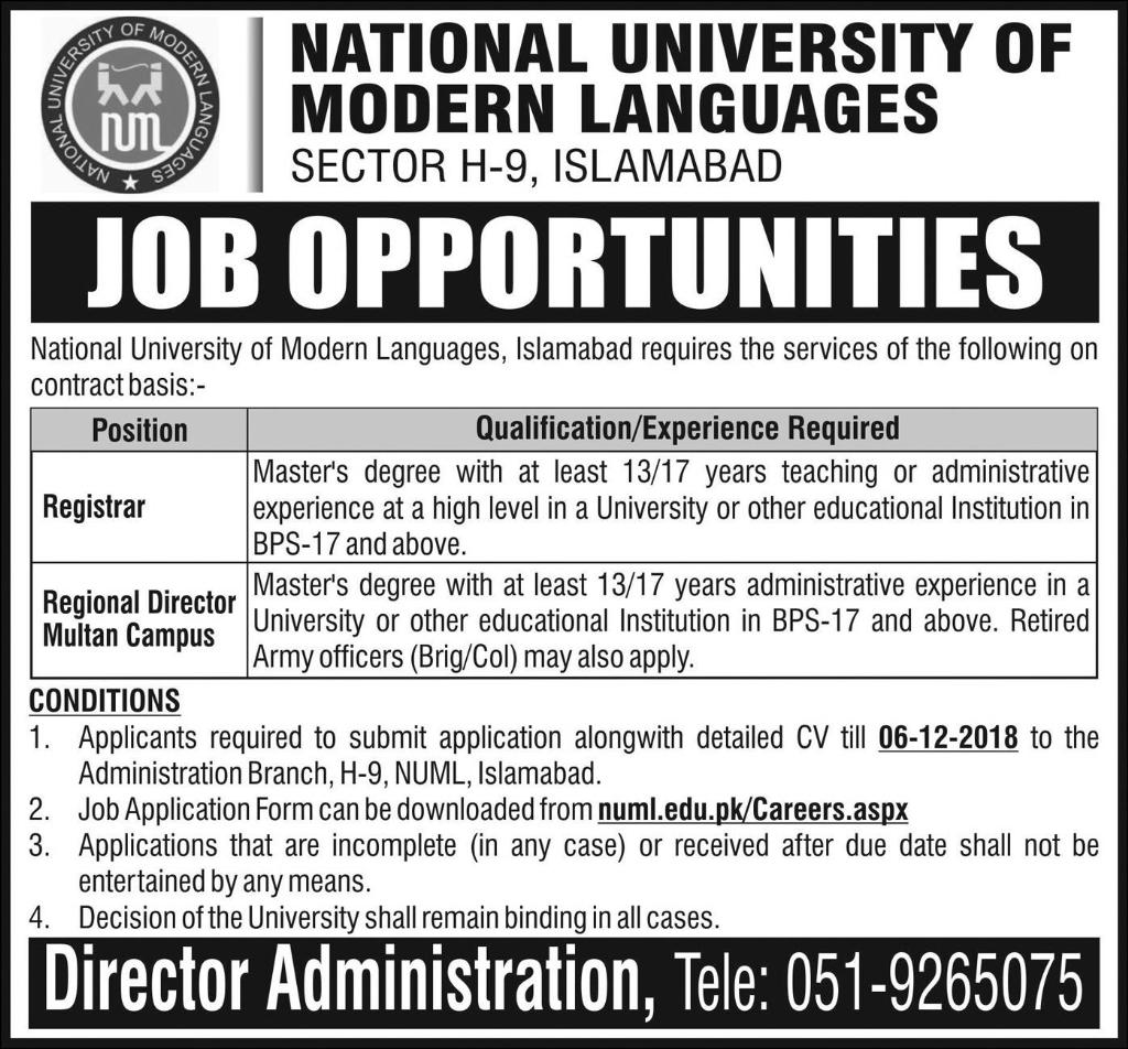 NUML Islamabad Jobs Latest 2018