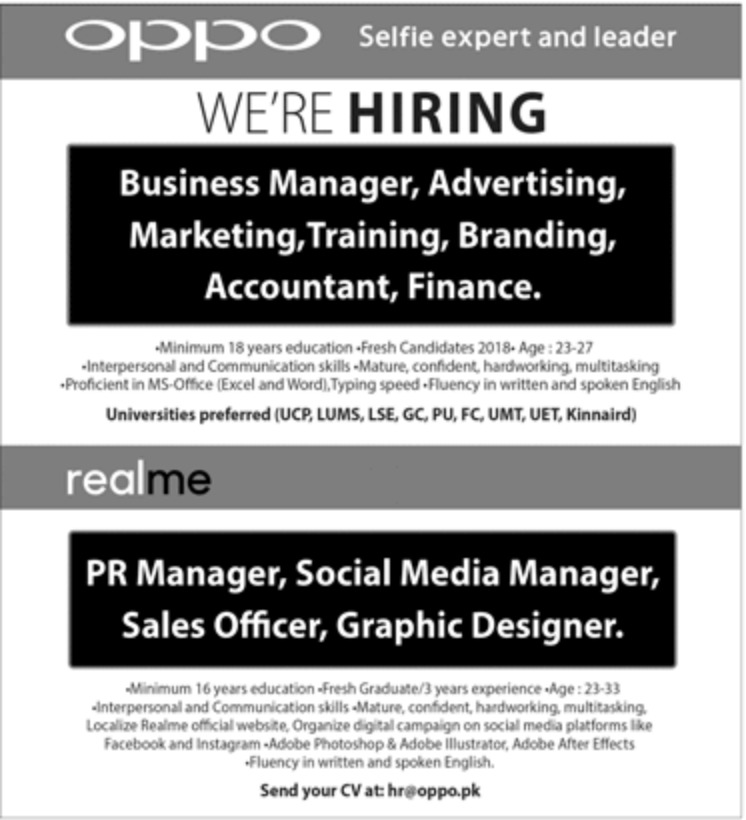 Oppo Pakistan Jobs Latest 2018