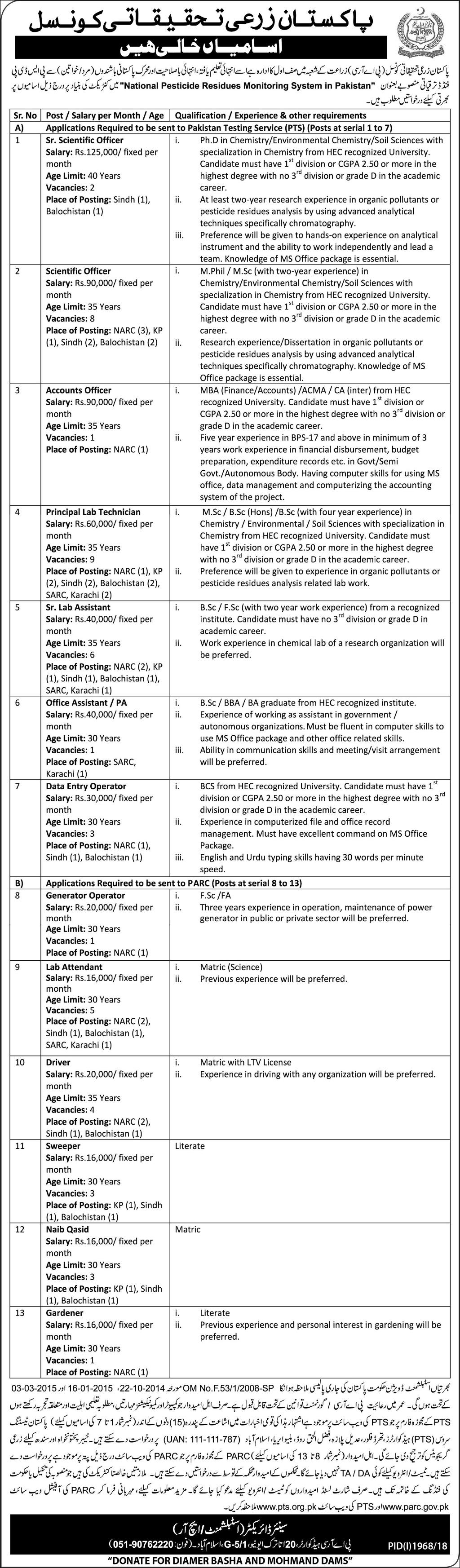 Pakistan Agricultural Research Council Jobs Latest 2018