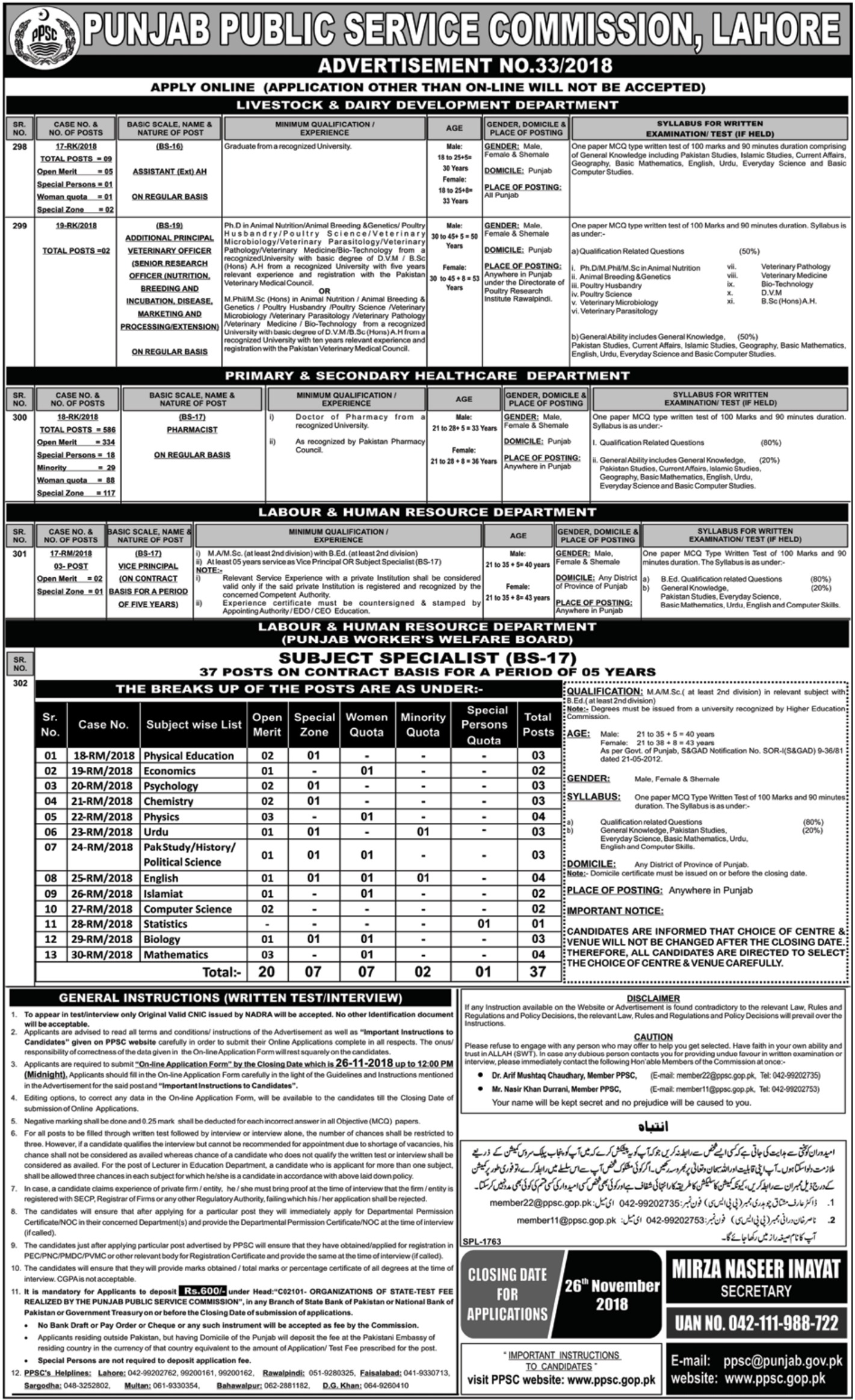 PPSC Jobs Latest 11 November 2018