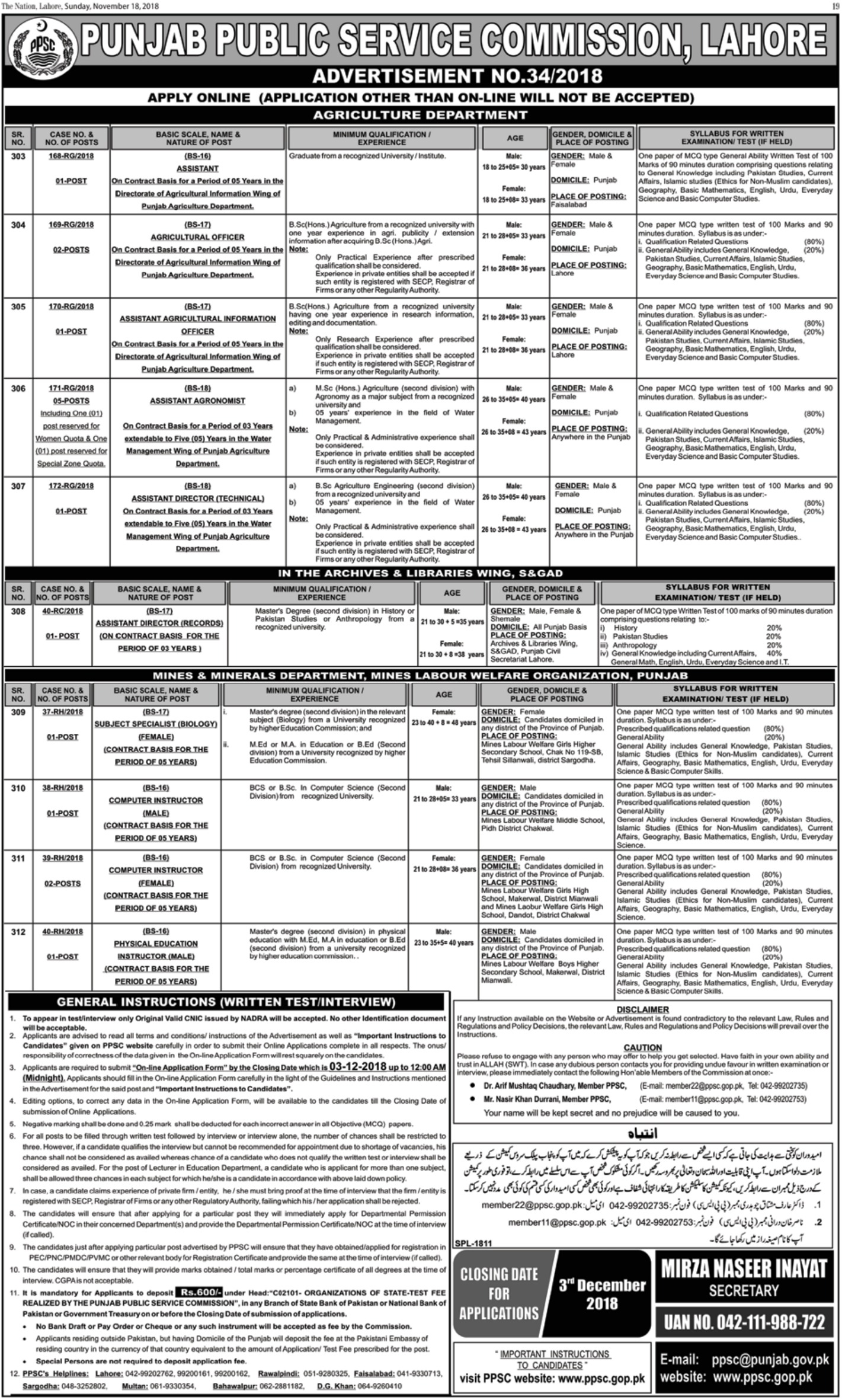 PPSC Jobs Latest 18 November 2018