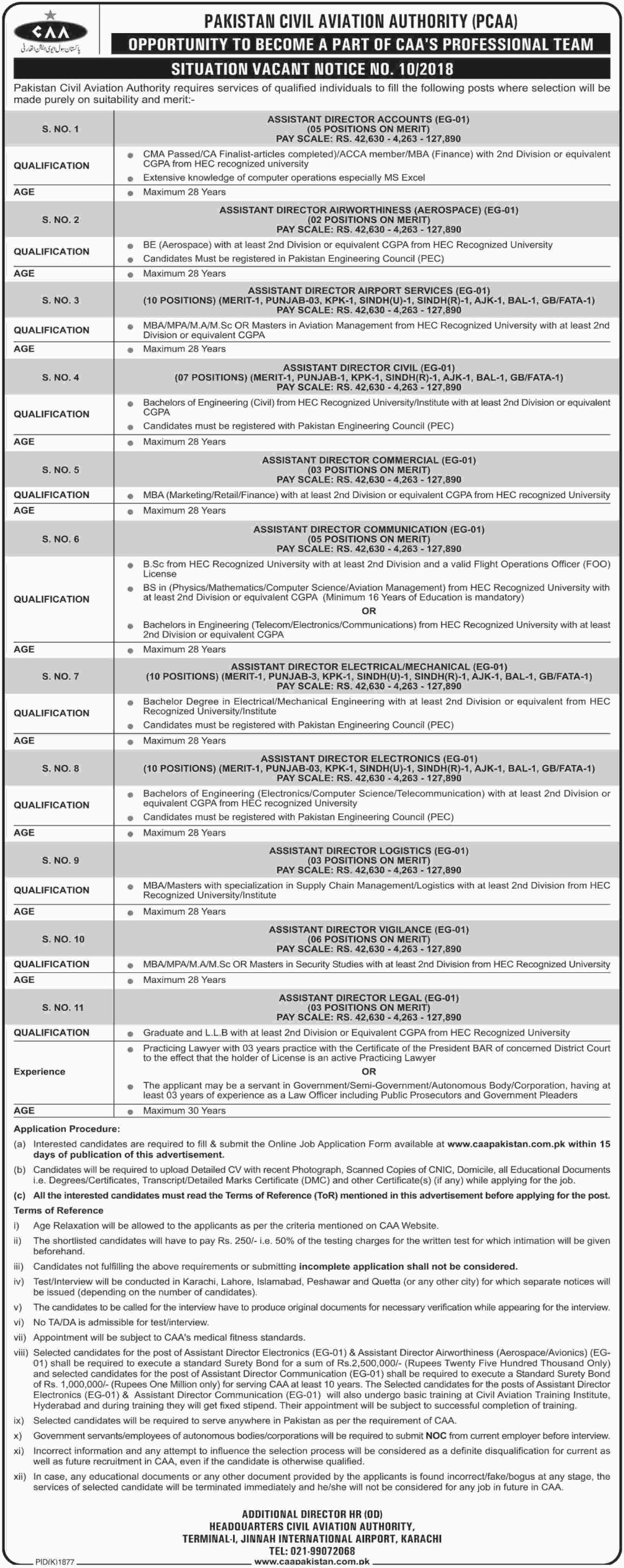 Pakistan Civil Aviation Authority Jobs Latest 2018