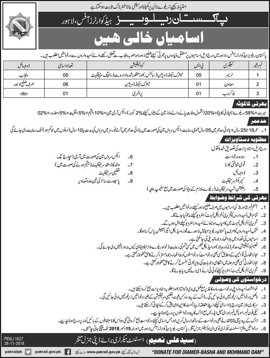 Pakistan Railways Lahore Jobs 2018