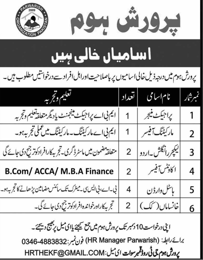 Parwarish Organization Pakistan Jobs 2018