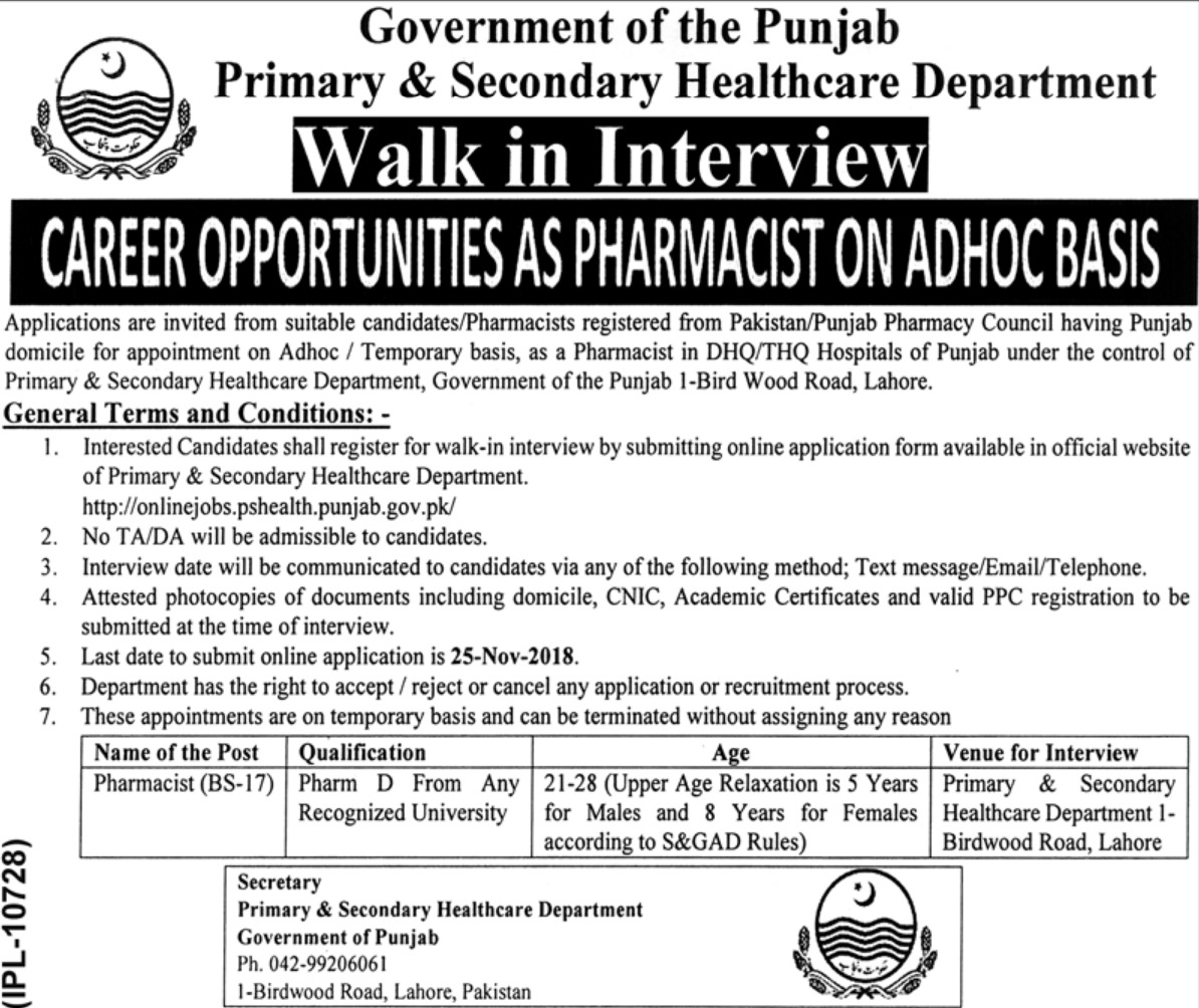 Primary & Secondary Healthcare Department Punjab Pharmacist Jobs Latest 2018