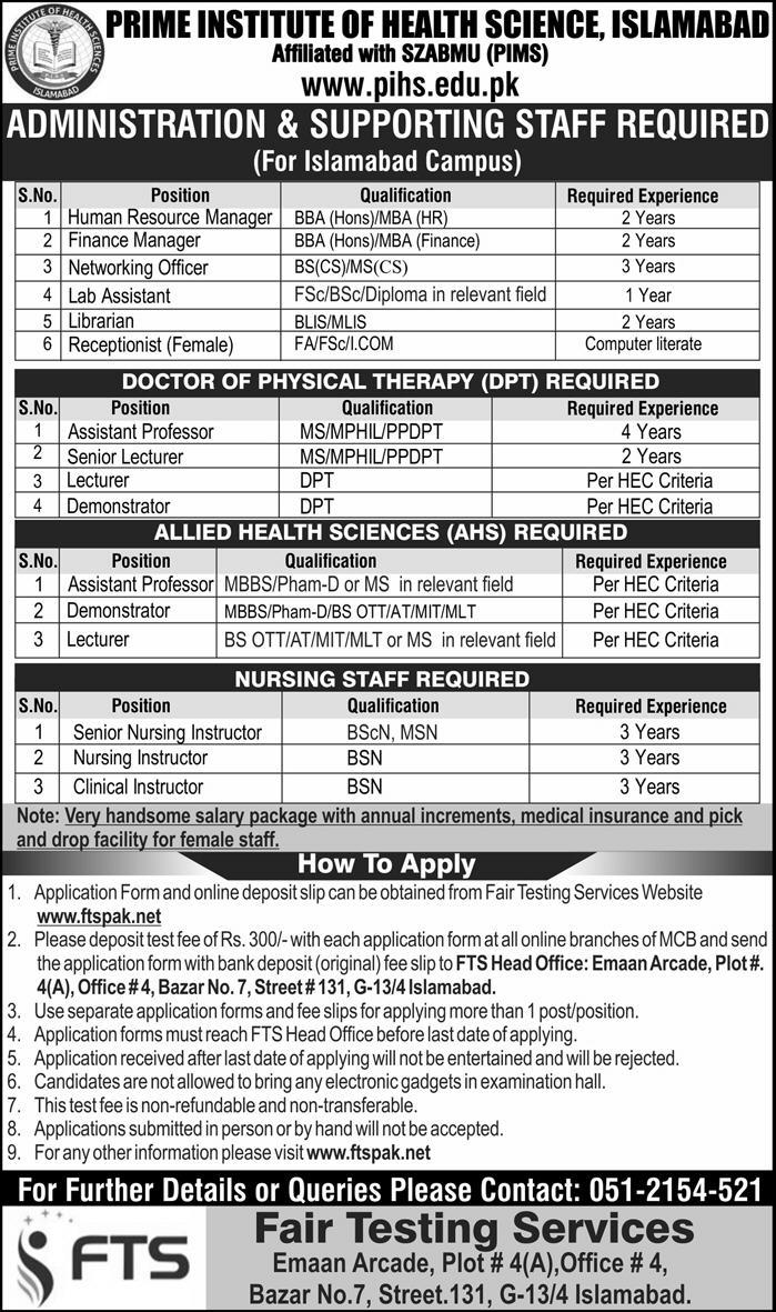 Prime Institute of Health Sciences Islamabad Jobs 2018
