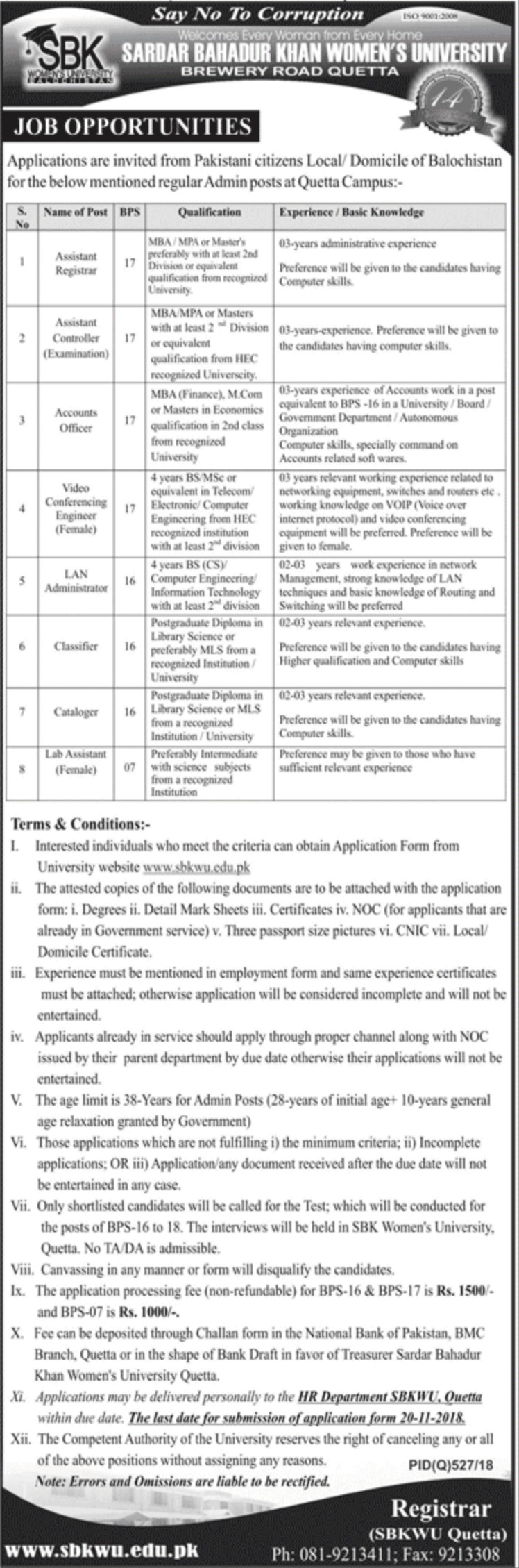 SBK Women's University Quetta Jobs Latest 2018
