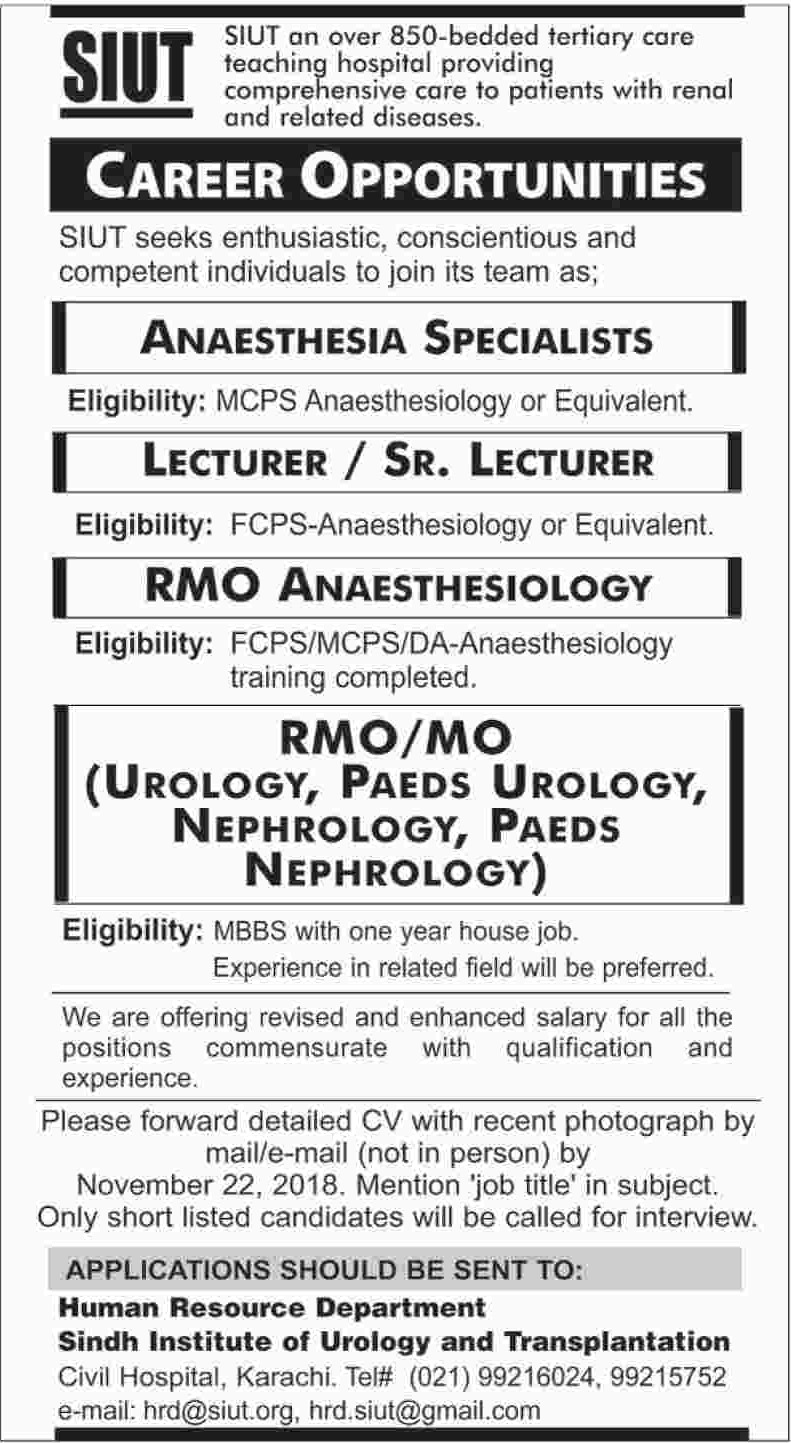 Sindh Institute of Urology & Transplantation Karachi Jobs 2018