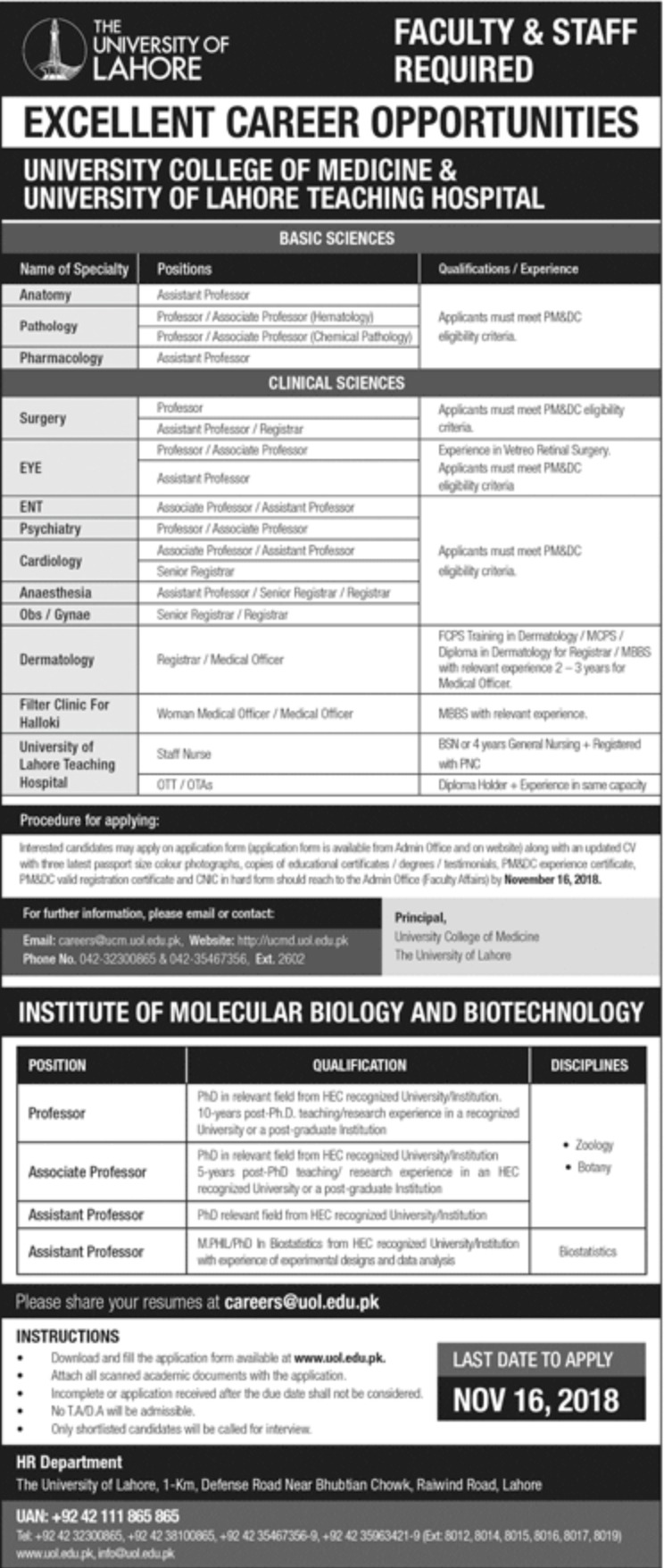 The University of Lahore Jobs Latest 2018