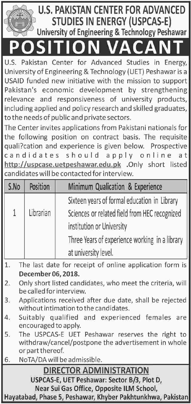 UET Peshawar Jobs 30 November 2018