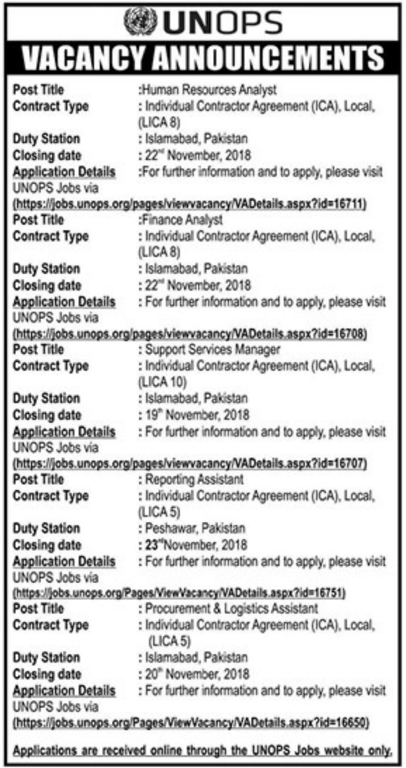 UNOPS Pakistan Jobs Latest 2018