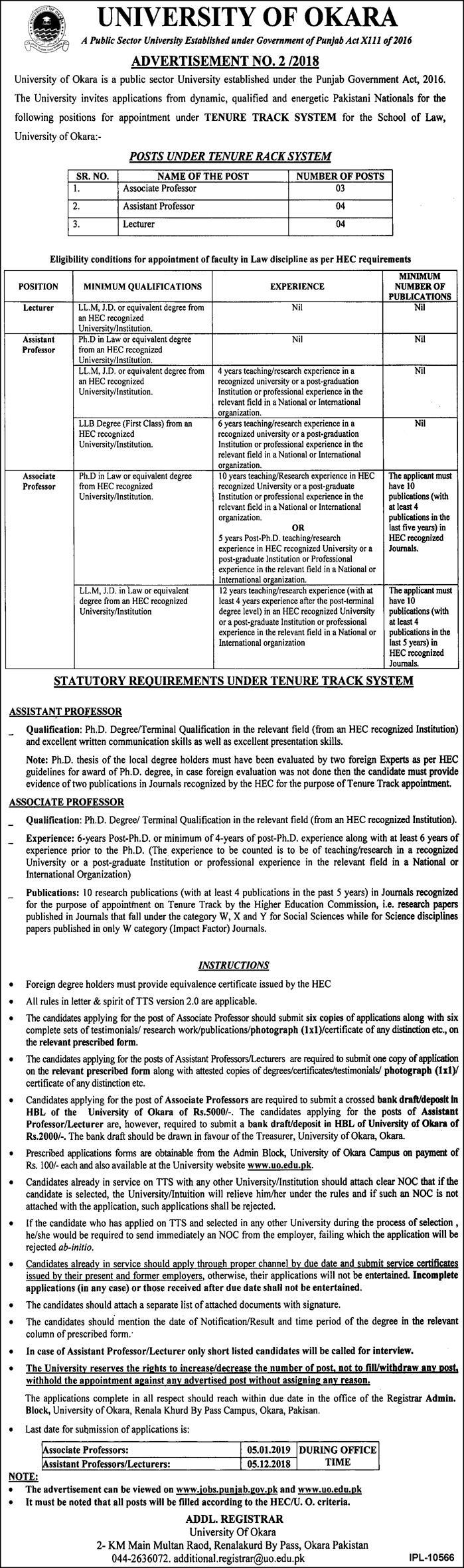 University of Okara Jobs Latest 2018