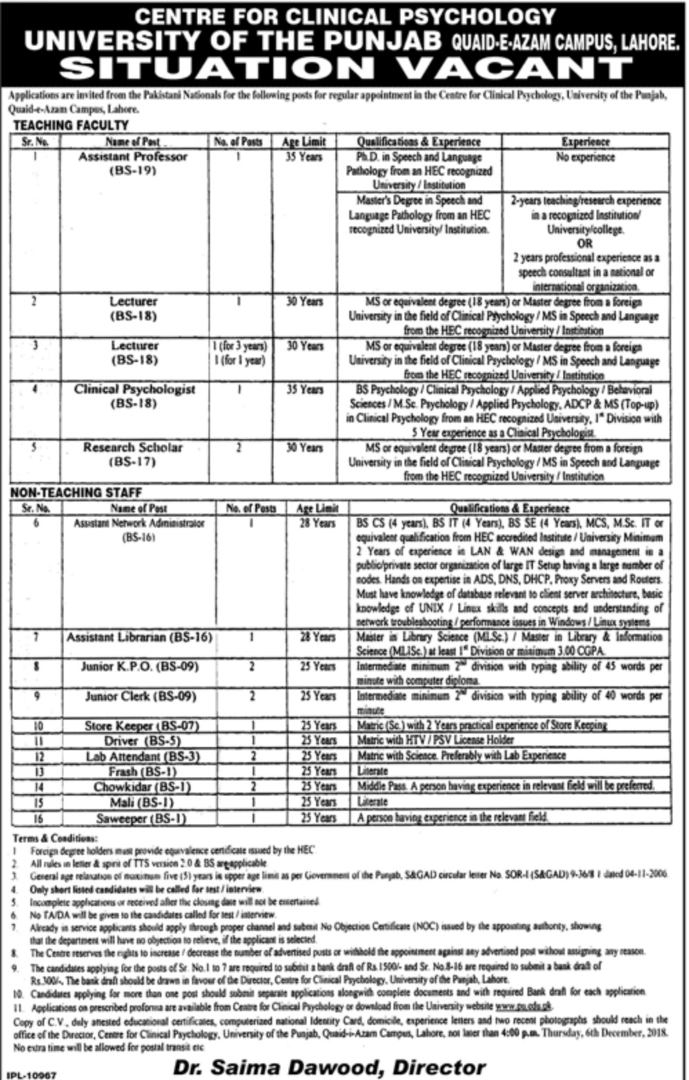 University of Punjab Jobs Lahore 2018