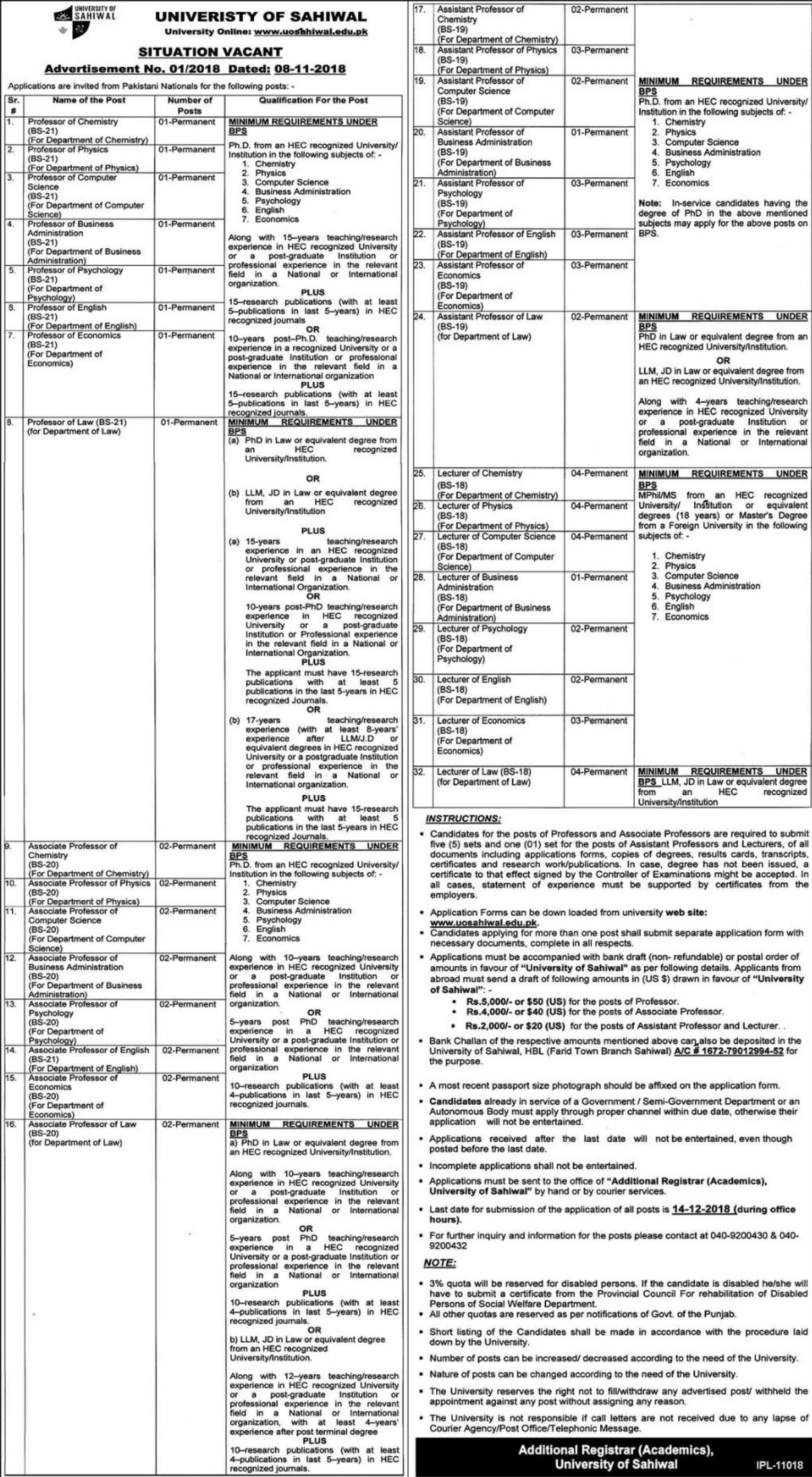 University of Sahiwal Jobs Latest 2018