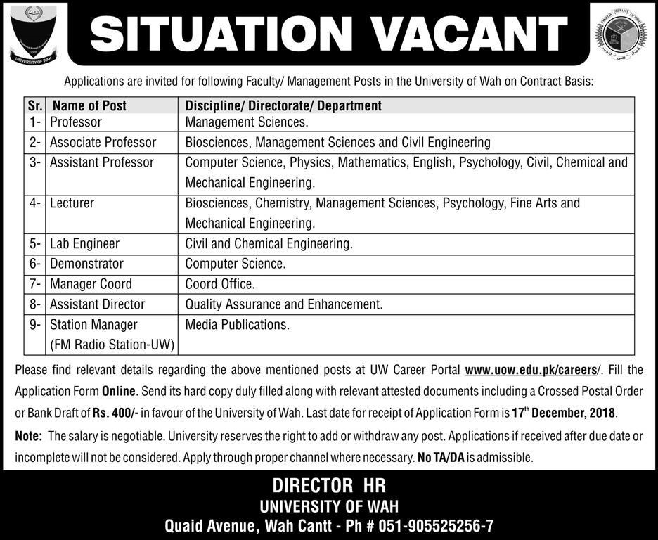 University of Wah Jobs Latest 2018