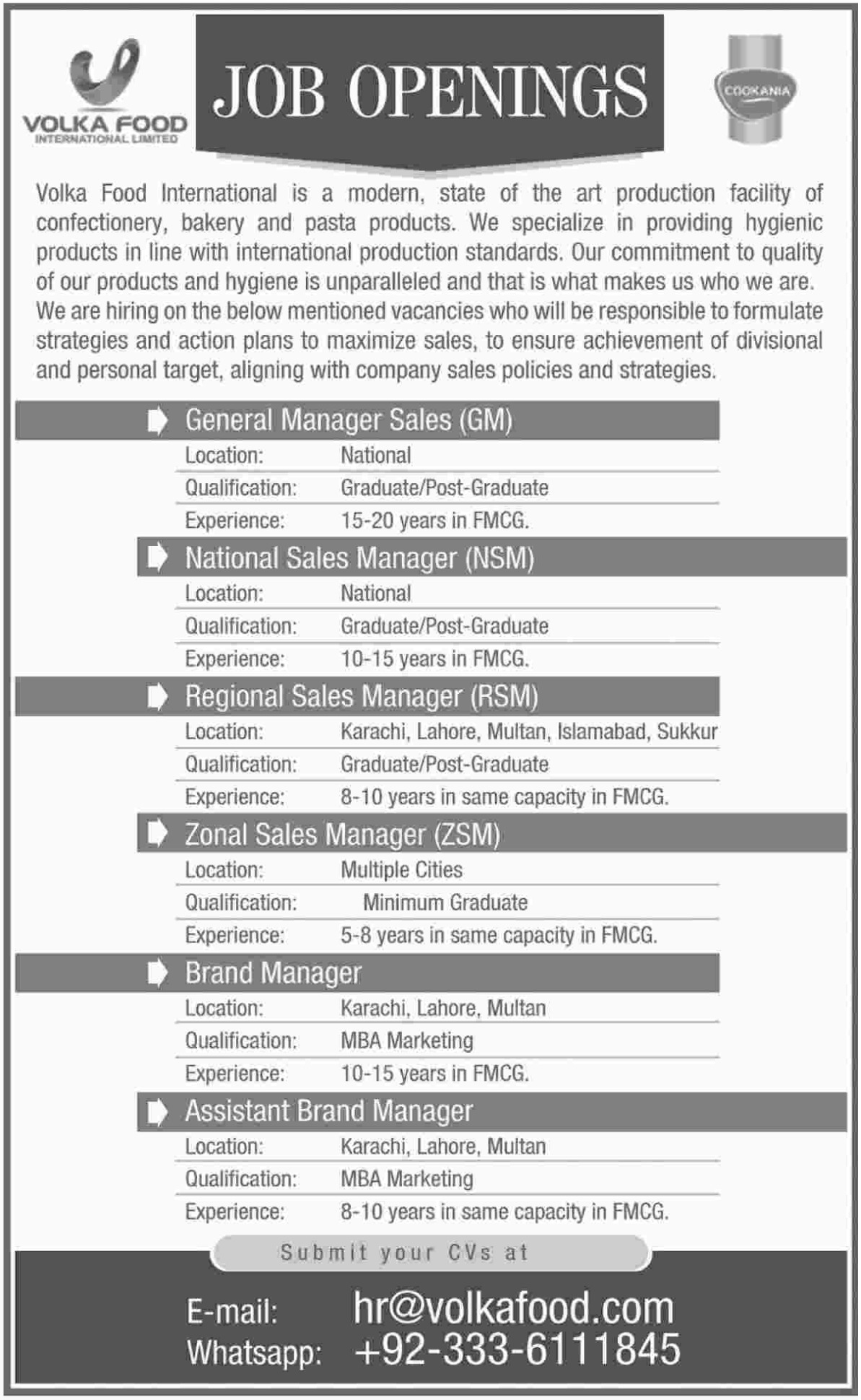 Volka Food International Jobs Latest 2018