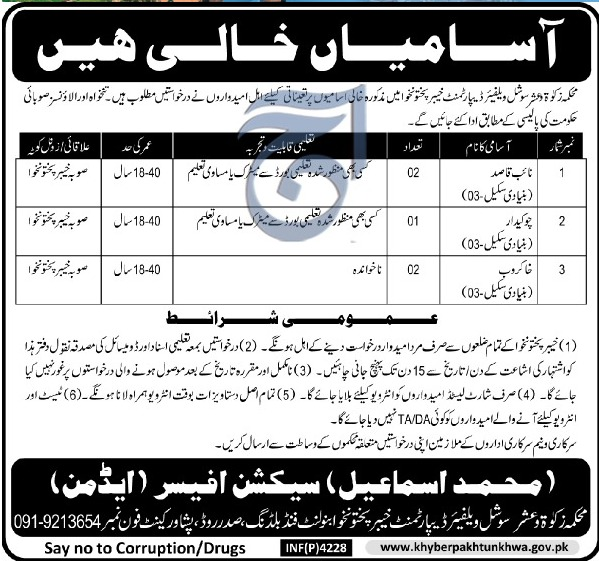 Zakat & Usher Department Social Welfare Department KPK Jobs Latest 2018