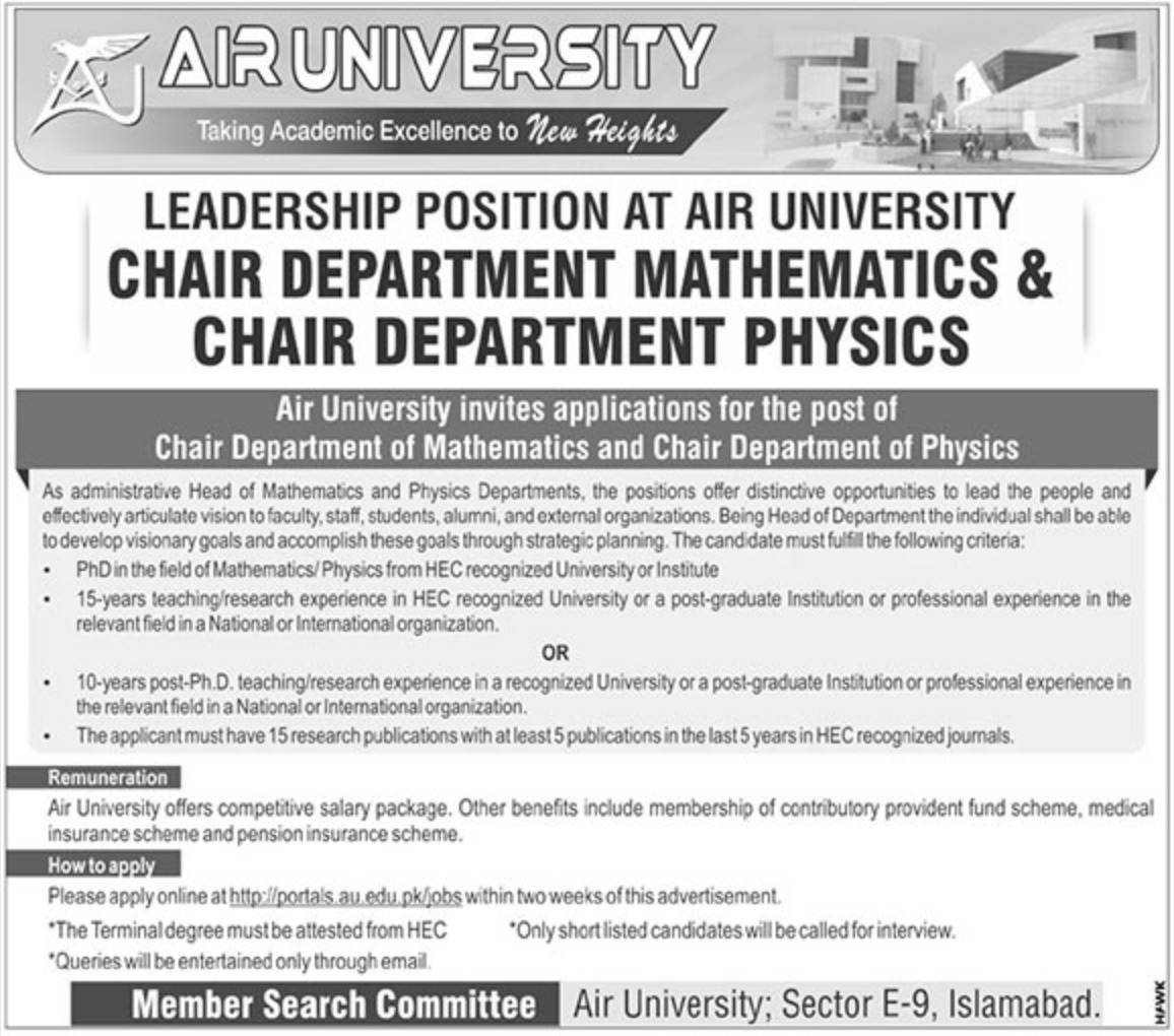 Air University Islamabad Jobs 2018 Latest