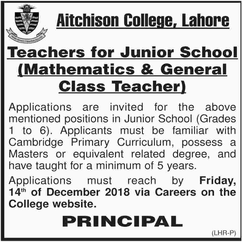 Aitchison College Lahore Jobs 2018