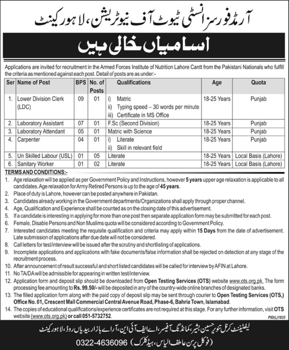 Armed Forces Institute of Nutrition Lahore Cantt Jobs 2018