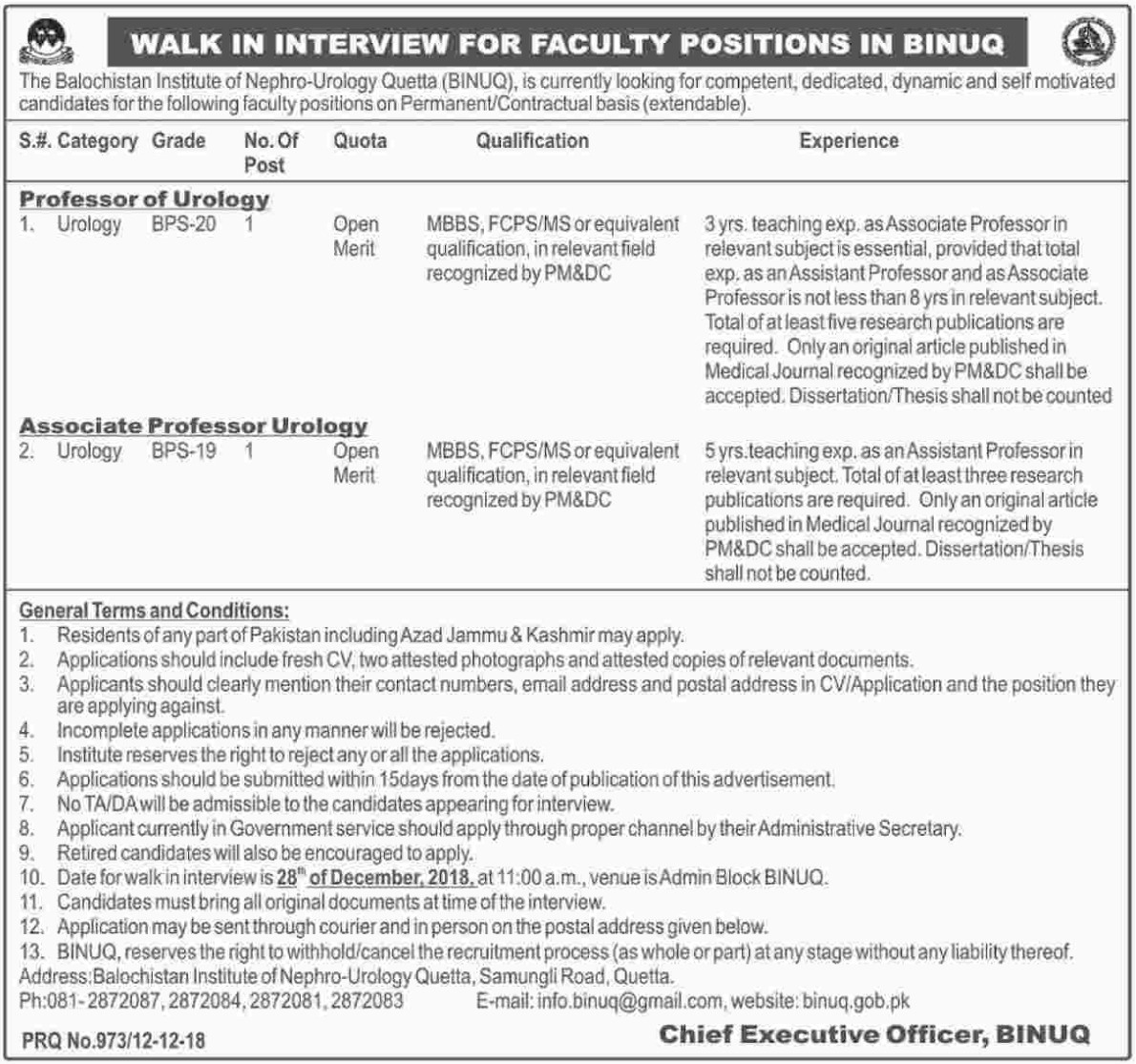 BINUQ Jobs 2018 Balochistan Institute of Nephro Urology Quetta