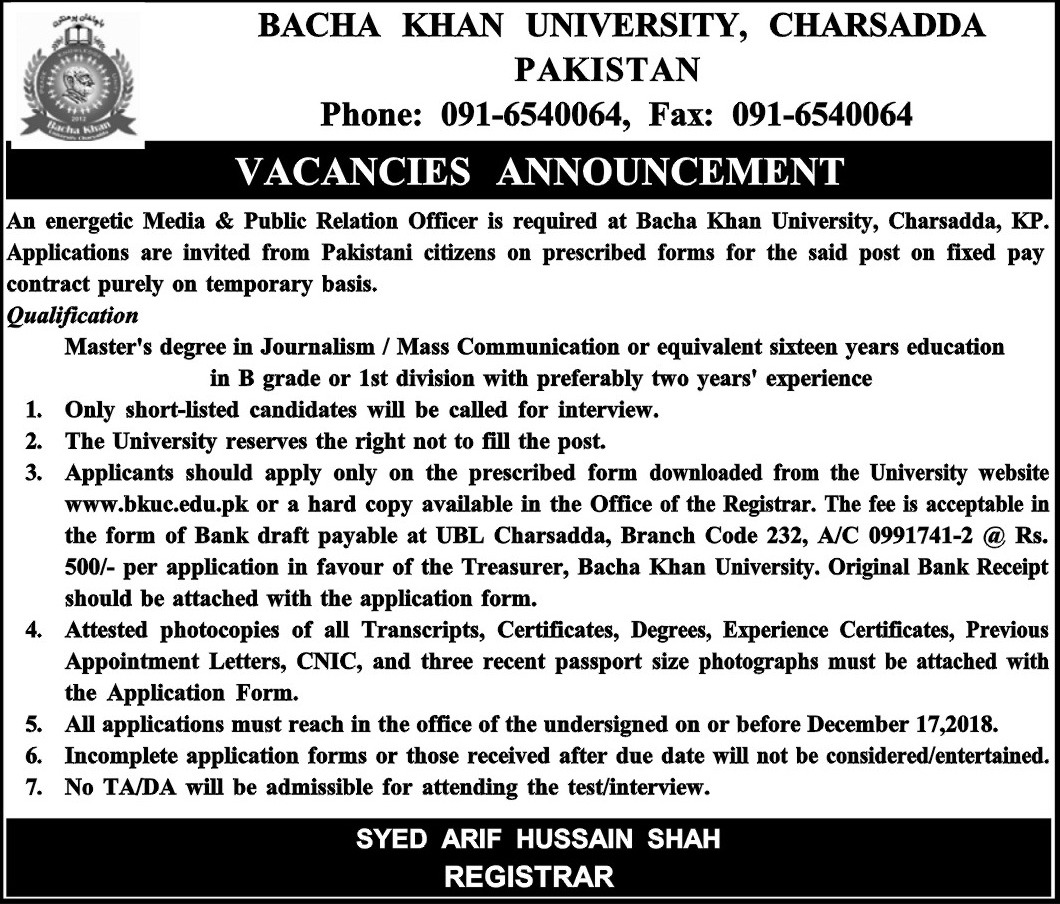 Bacha Khan University Charsadda Jobs 2018