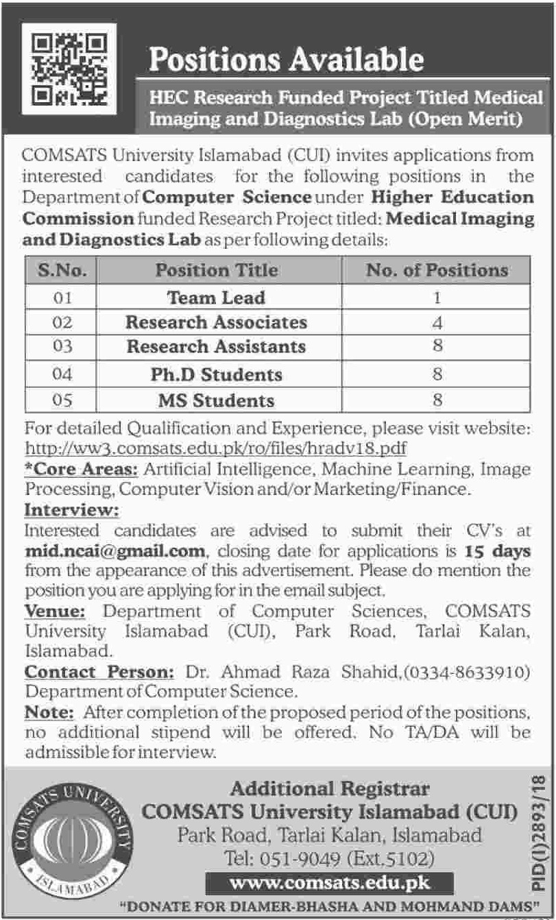 COMSATS University Islamabad Jobs 2018 Latest