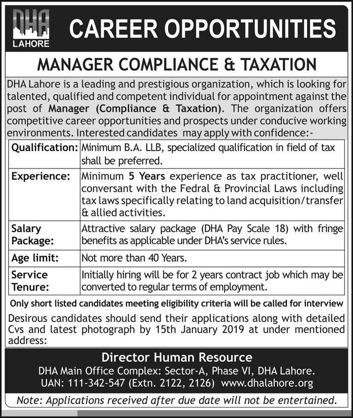 DHA Lahore Jobs 2018 Manager Compliance & Taxation