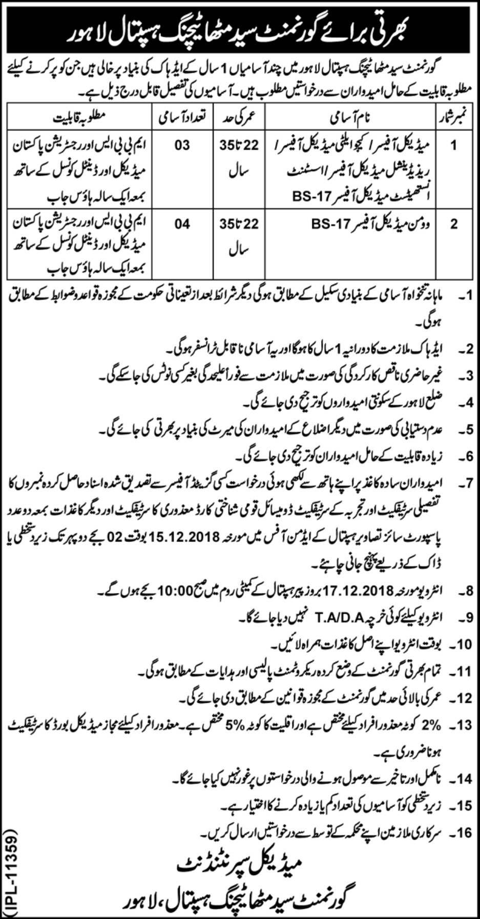 Government Syed Mitha Teaching Hospital Lahore Jobs 2018