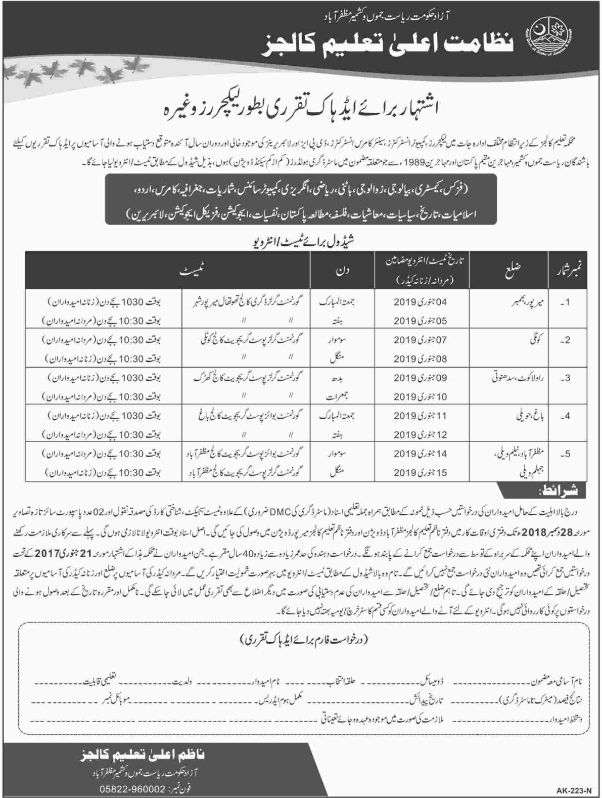 Higher Education Department Colleges AJK Jobs 2018