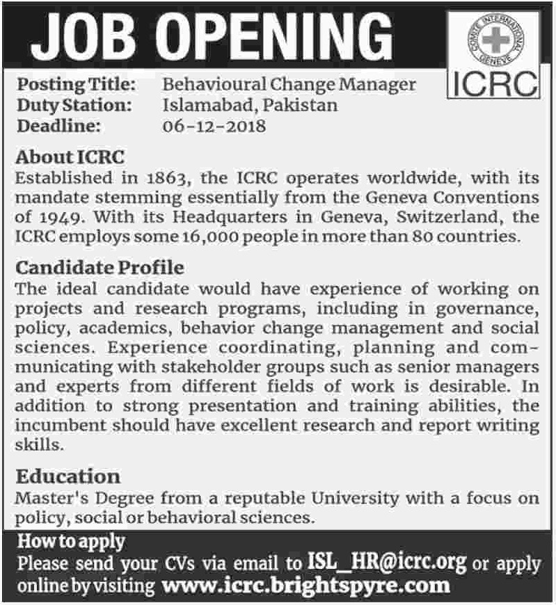 ICRC Jobs 2018 Brightspyre Latest