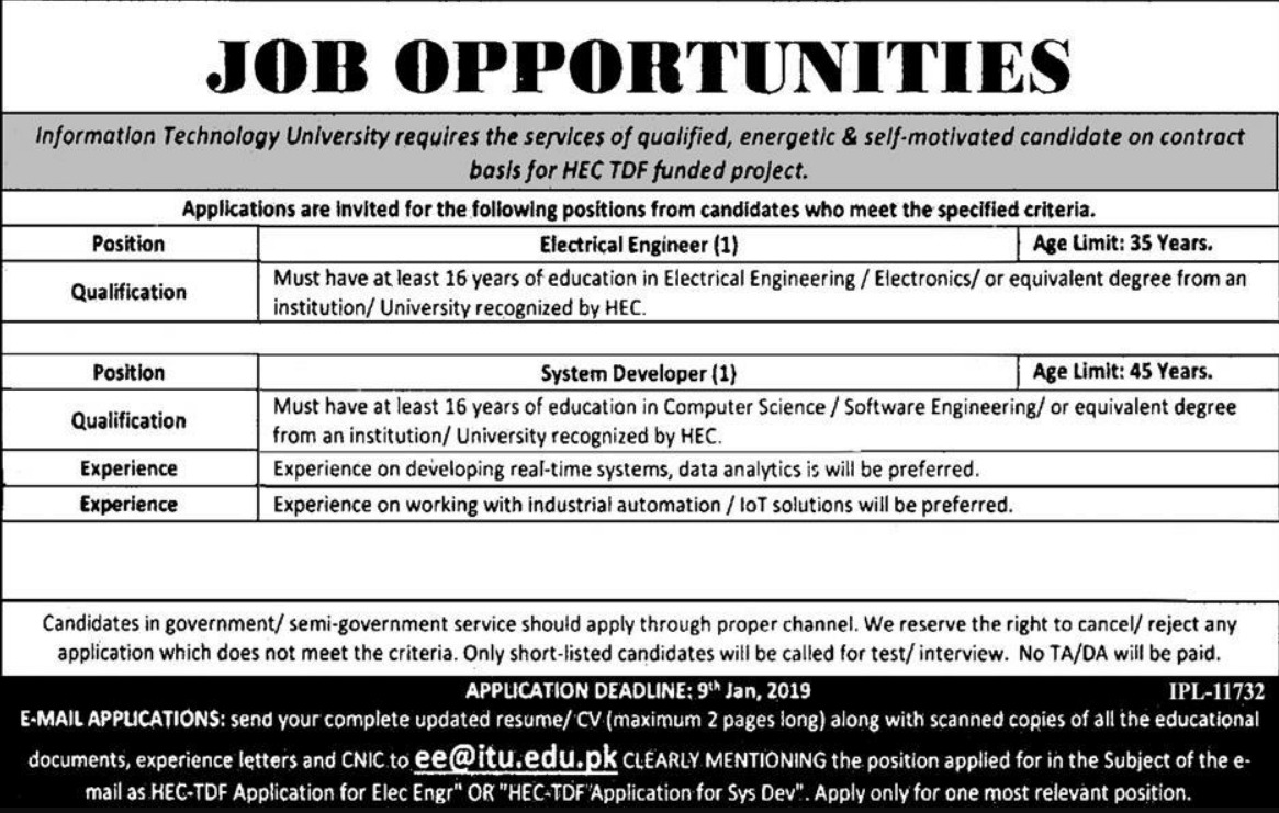 ITU Jobs 2018 Information Technology University