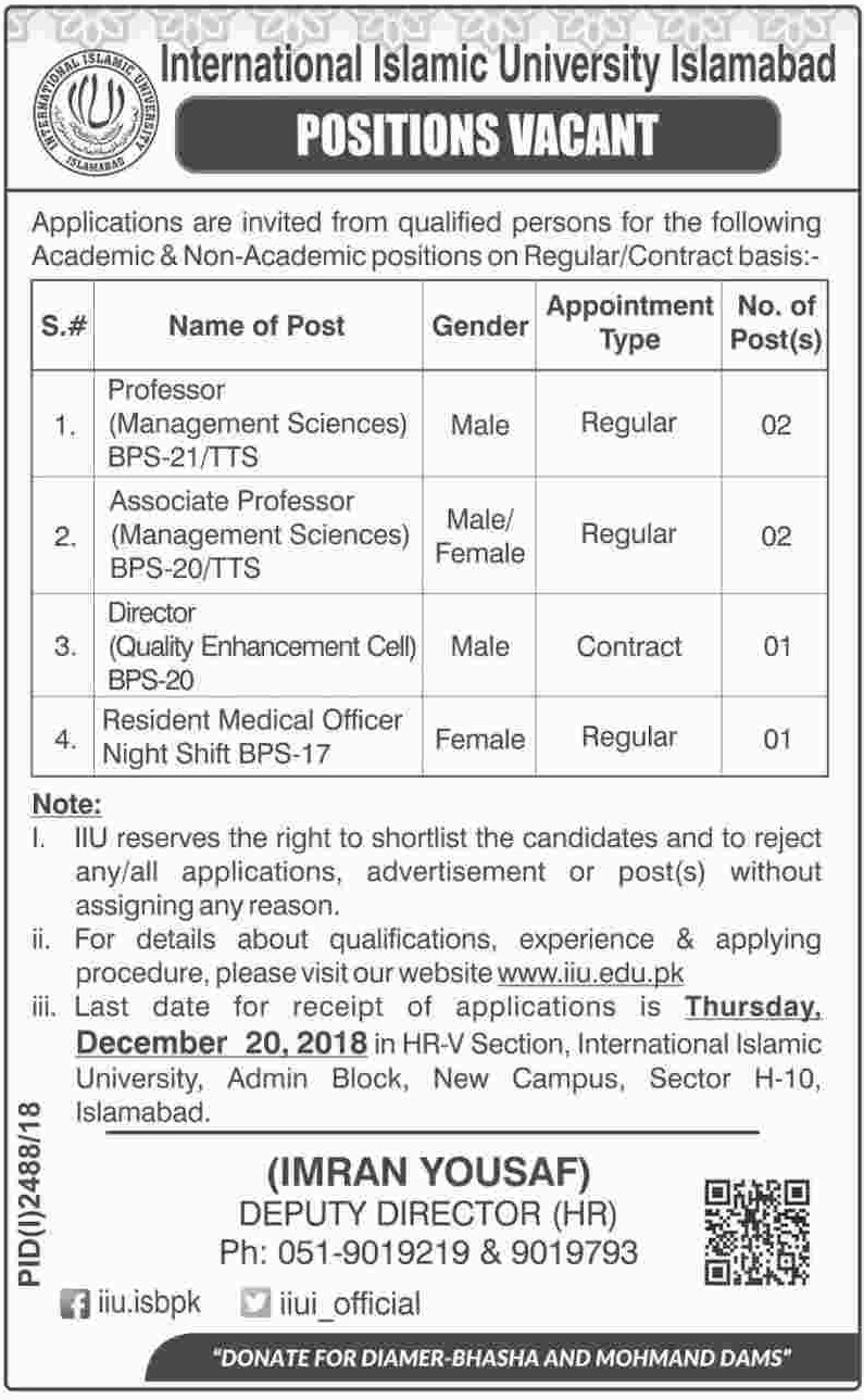 International Islamic University Islamabad Jobs 2018