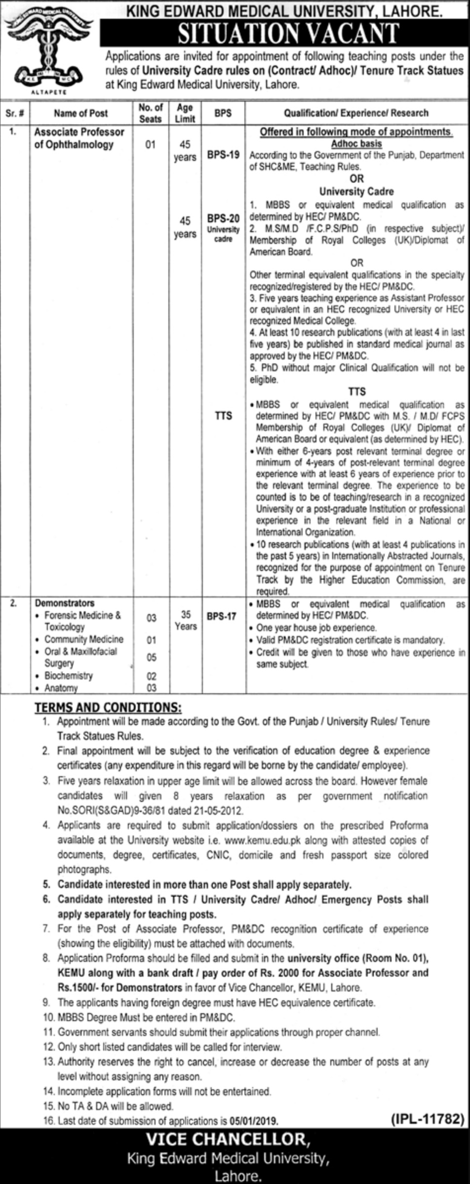 KEMU Lahore Jobs 2018 King Edward Medical University