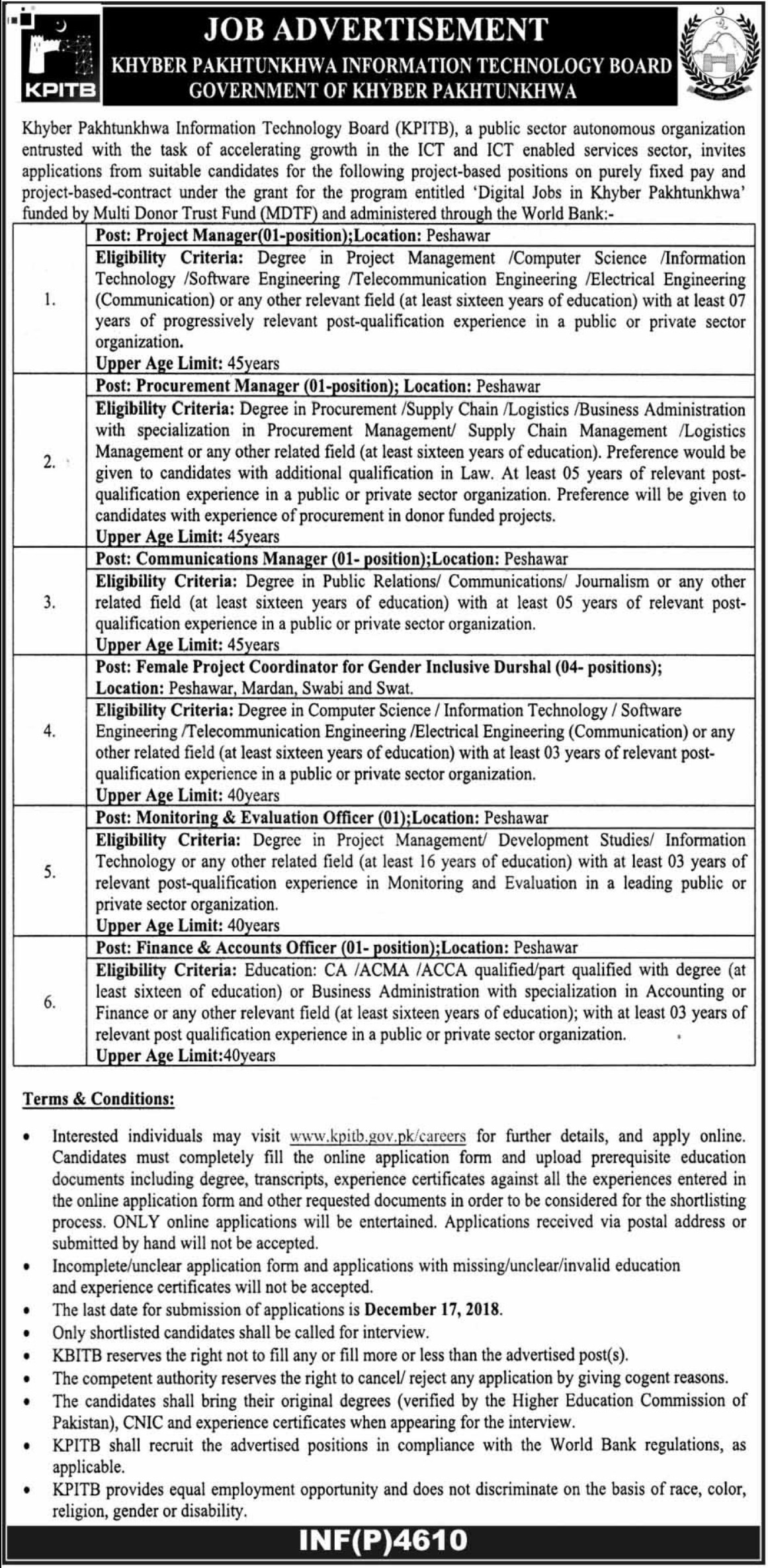 KPITB Jobs 2018 KPK Information Technology Board