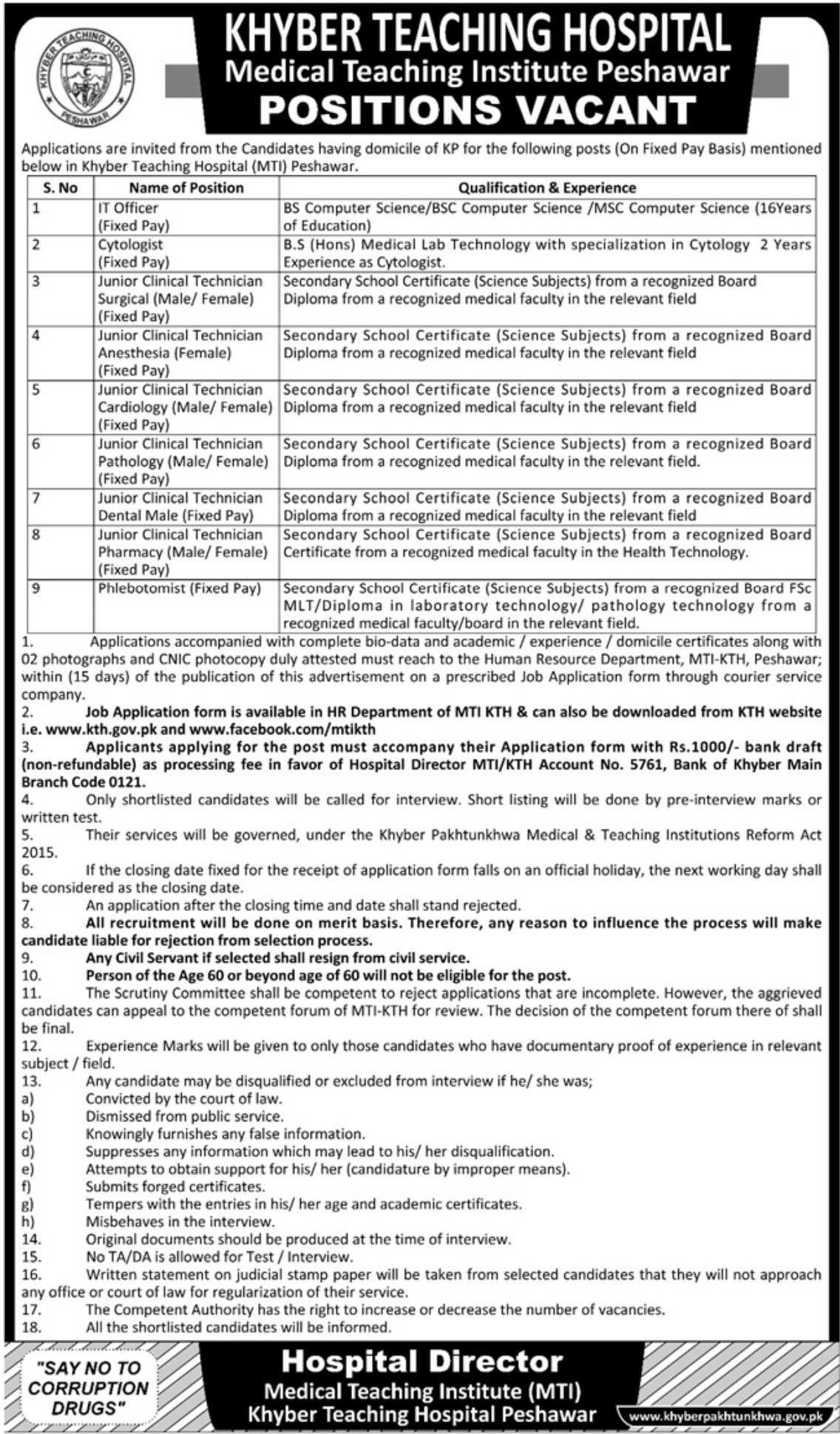 Khyber Teaching Hospital Peshawar Jobs 2018