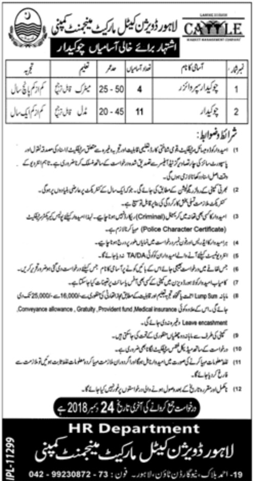 Lahore Division Cattle Market Management Company Jobs 2018
