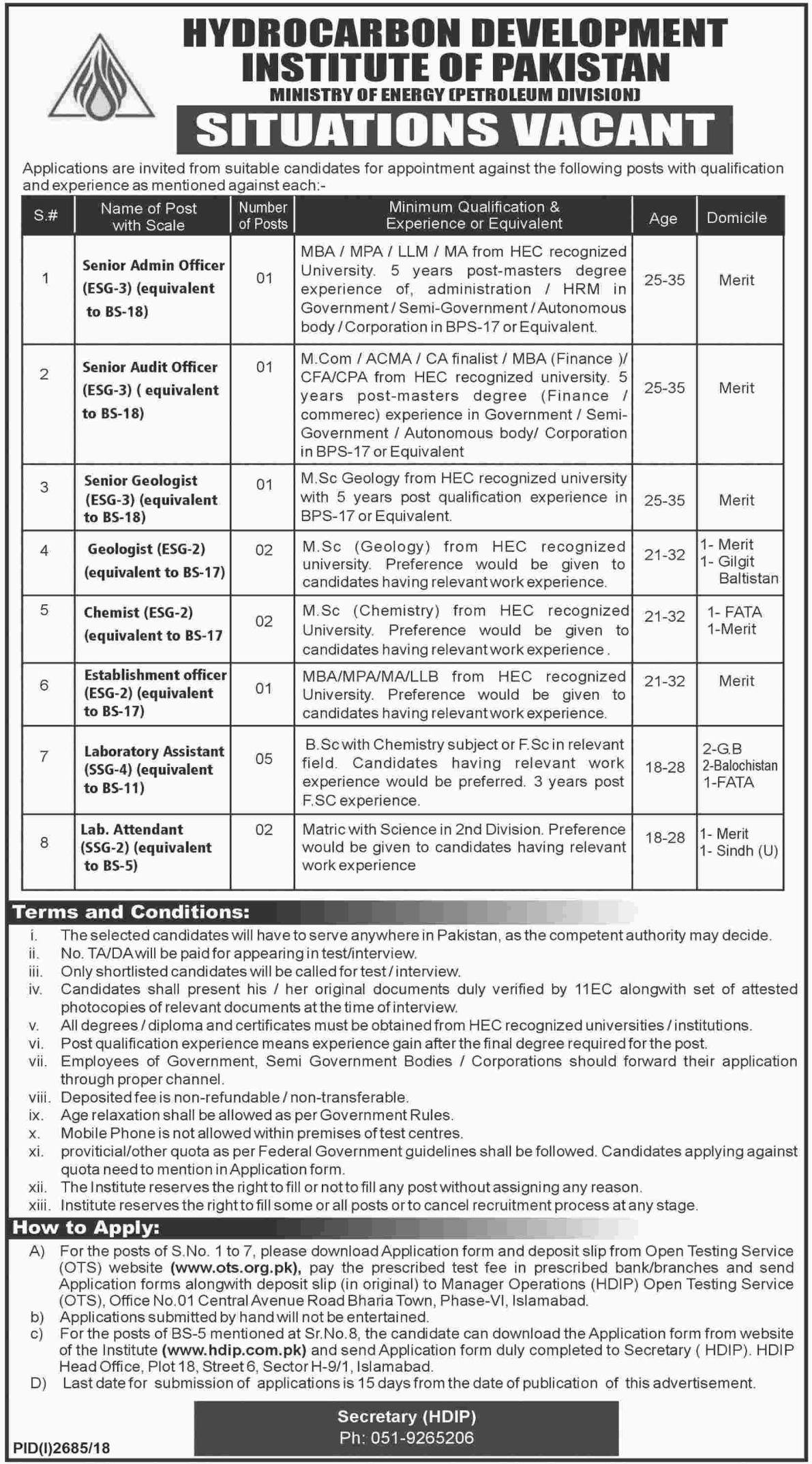 Ministry of Energy Jobs 2018 Hydrocarbon Development Institute of Pakistan