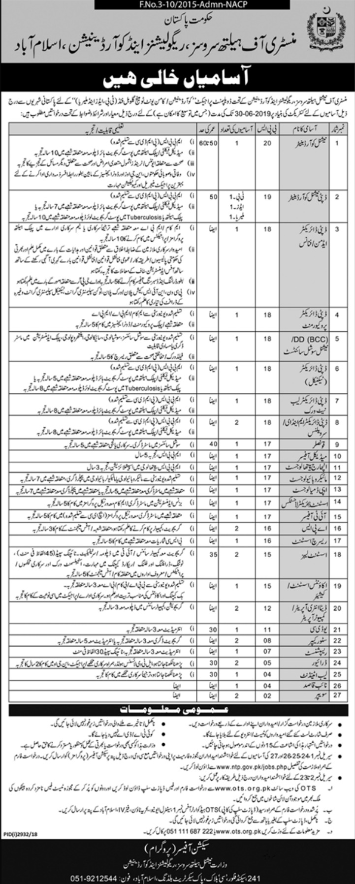 Ministry of Health Services Regulations & Coordination Islamabad Jobs 2018